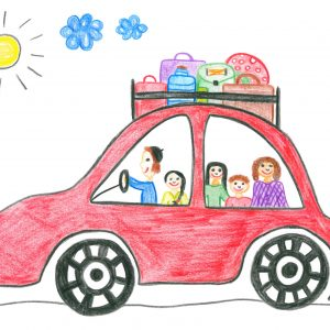 Child's drawing happy family on the holiday car trip
